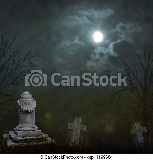 Spooky Halloween graveyard with dark clouds and ominous moon - csp11199684