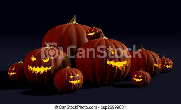 Spooky Halloween jack-o-lanterns - csp26999031