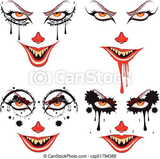 Cartoon Halloween Makeup.Spooky Halloween Makeup Cartoon Face With Creepy Make Up For Halloween Canstock