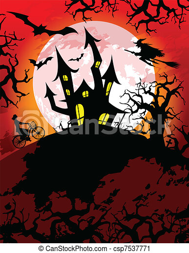 spooky halloween theme halloween theme with spooky haunted house rh canstockphoto com Vintage Halloween Clip Art Halloween Monster Clip Art