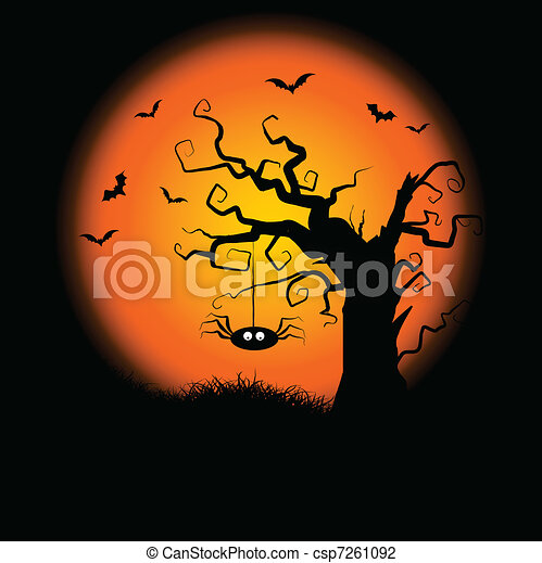 spooky halloween tree background halloween background with a