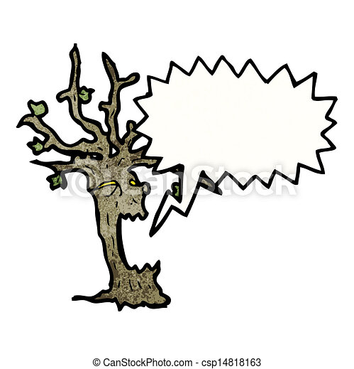 spooky halloween tree cartoon