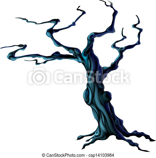 spooky halloween tree an illustration of a bare spooky scary rh canstockphoto com Tree Silhouette Coner Border Clip Art Halloween Bat