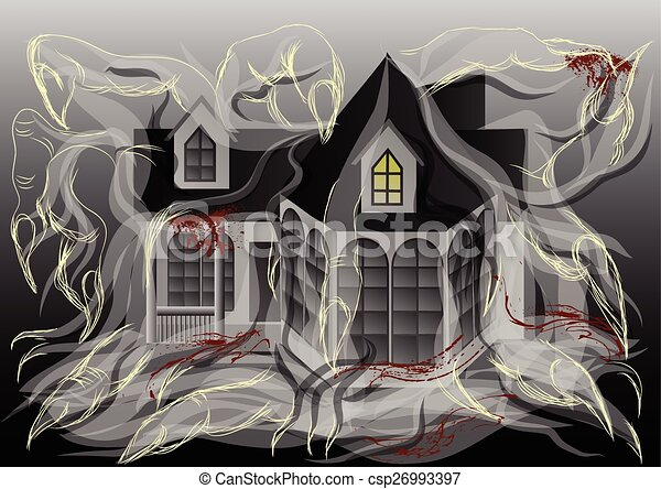 spooky house illustration - csp26993397