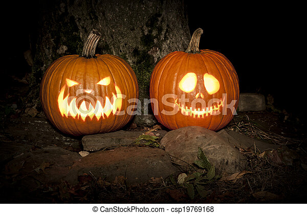 Spooky Jack-o-lanterns Outdoors - csp19769168
