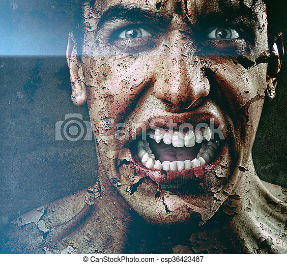 Spooky scary man with aged cracked peeling skin - csp36423487