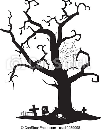 spooky silhouette of tree spooky black silhouette of tree eps rh canstockphoto com