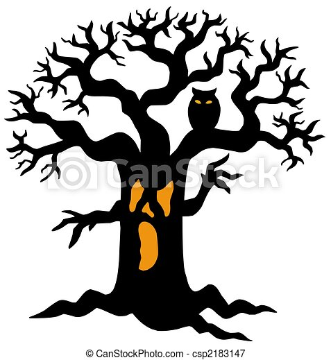 spooky tree silhouette isolated illustration stock illustrations rh canstockphoto com spooky halloween tree clipart