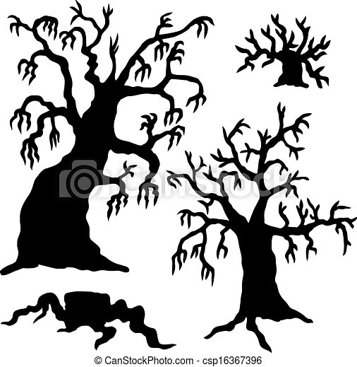 spooky trees silhouette collection vector illustration eps rh canstockphoto ca  free spooky tree clipart