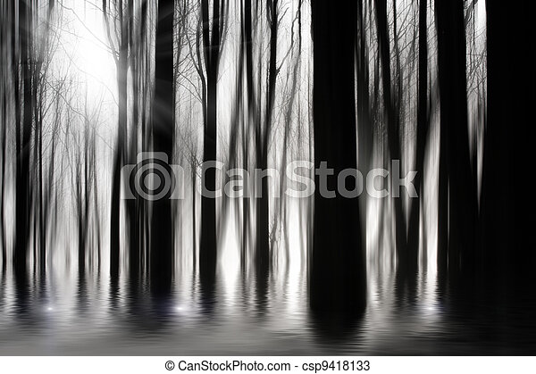 Spooky woods in BW with flooding - csp9418133