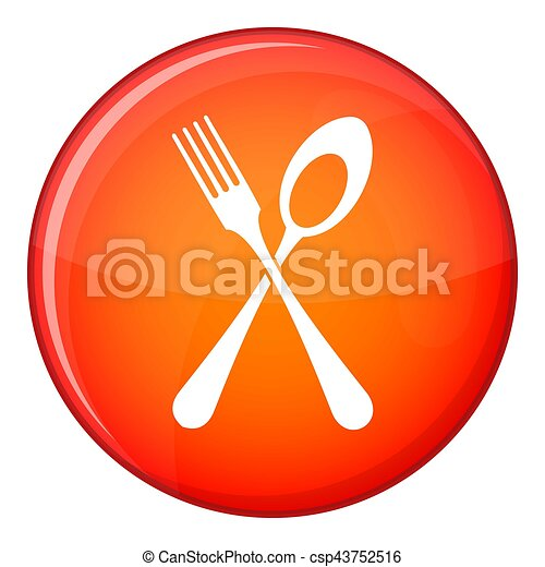 Spoon and fork icon, flat style - csp43752516