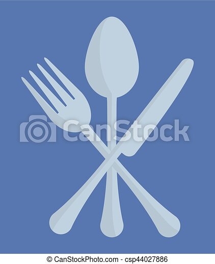 spoon fork knife cutlery emblem image - csp44027886