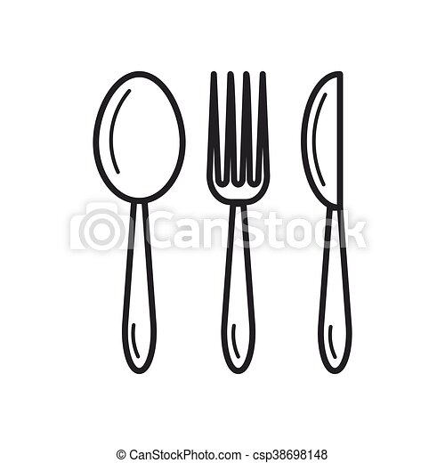 Spoon Fork Knife Thin Line Icon Vector Thin Line Icon Of Spoon