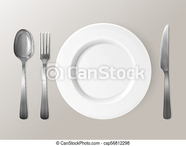 Spoon Fork Or Knife And Plate Tableware 3d Vector Illustration