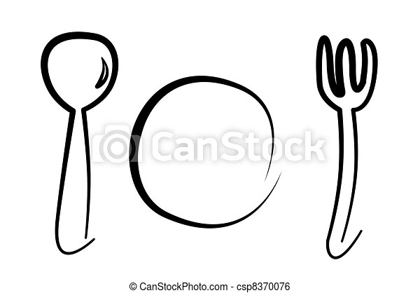 spoon, plate and fork - csp8370076