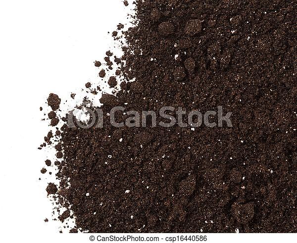 sporcizia, suolo, isolato, raccolto, fondo, bianco, o - csp16440586