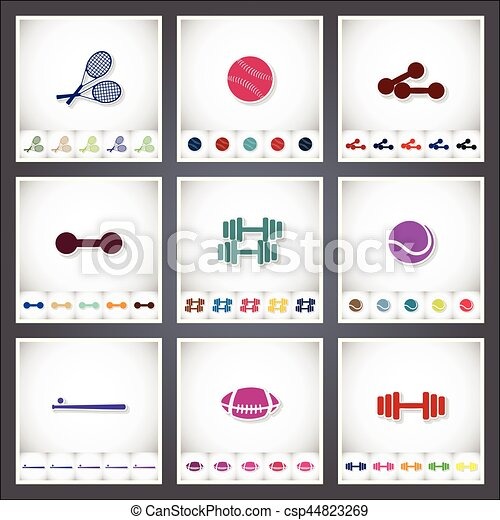 Sport. A set of flat stickers with shadow on white background - csp44823269