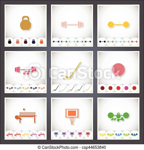 Sport. A set of flat stickers with shadow on white background - csp44653840