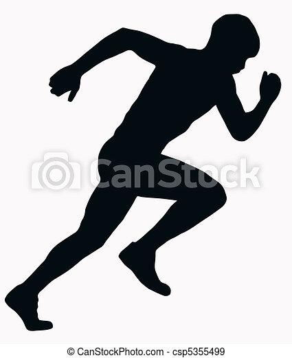sport, atleta, maschio, -, sprint, silhouette - csp5355499