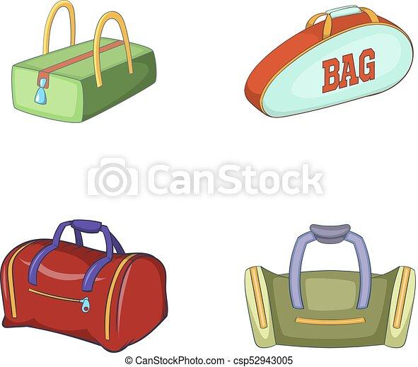 sport bag icon set cartoon style sport bag icon set vector rh canstockphoto com bag victoria secret back vector c++