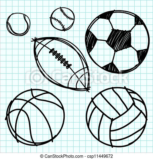 sport ball hand draw on graph paper sport ball hand draw on blue