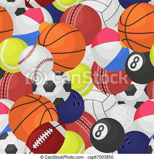 Sport Ball Seamless Pattern Sporting Equipment Balls Texture Game Baseball Football Basketball Tennis Rugby Cartoon Vector