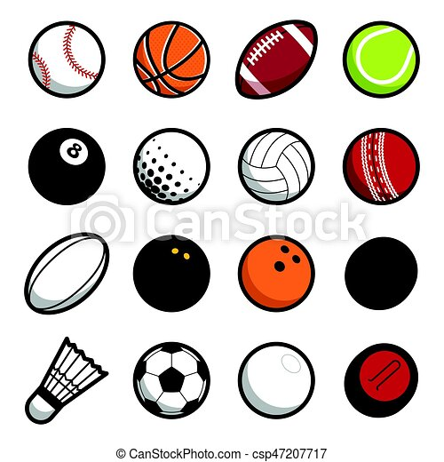 sport ball set isolated on white background vector play vector rh canstockphoto com cartoon sports balls clipart sports balls clipart images