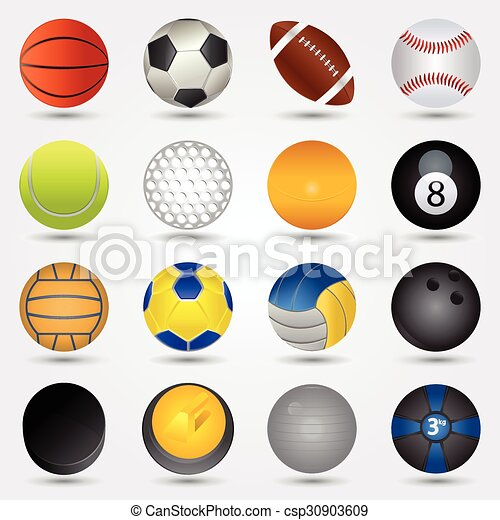 Sport Balls On A White Background With Shadow Vector Clipart