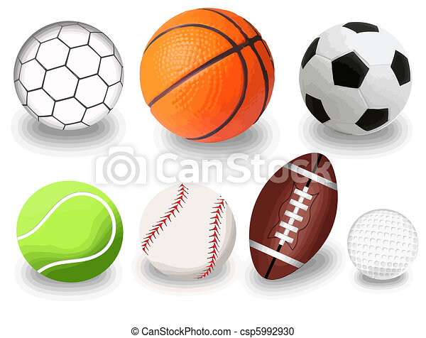 set of sport balls on white background vector illustration rh canstockphoto com clipart images of sports balls sports balls clipart black and white