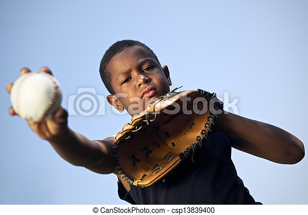 Sport, baseball and kids, portrait of child throwing ball - csp13839400