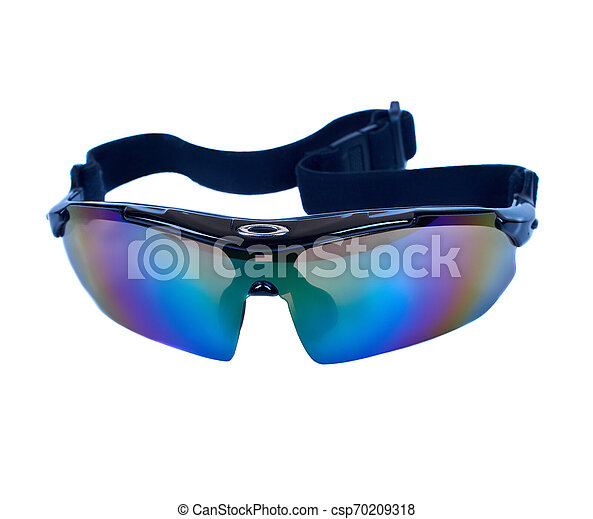Sport bike glasses isolated on white background clipping path - csp70209318