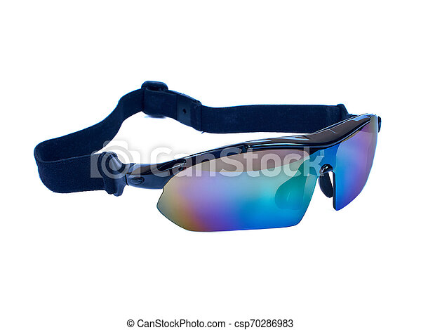 Sport bike glasses isolated on white background clipping path - csp70286983