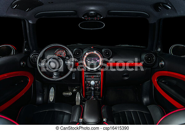 Sport Car Interior In Red And Black Colors
