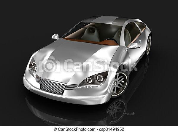 Sport car over black my own design 3d image csp31494952