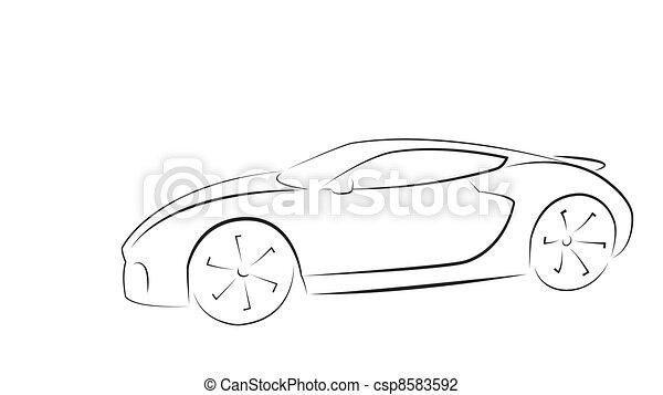 Sport car silhouette - csp8583592