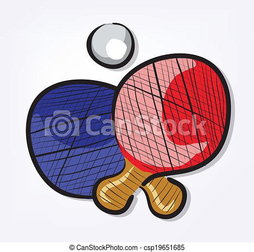 sport equipment cartoon set ping pong clip art illustration