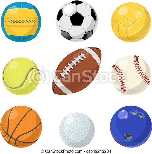Sport Equipment Different Balls In Cartoon Style Vector Collection Set Of Balls For Tennis And Handball Baseball And