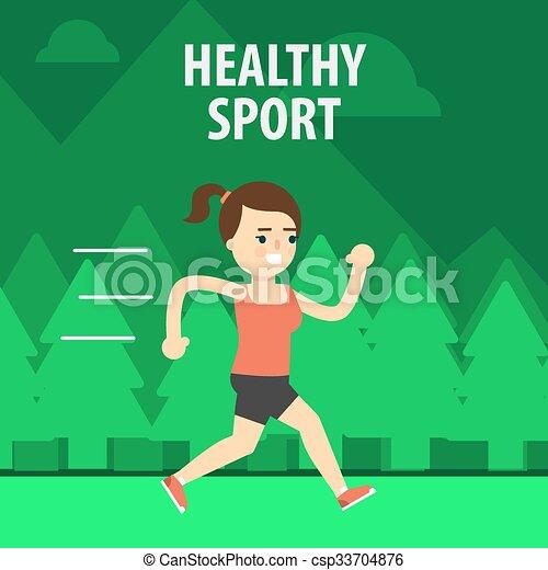 sport., esterno, strada, correndo, ragazza - csp33704876