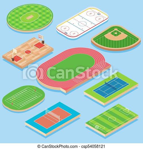 Sport field vector flat isometric icon set - csp54058121