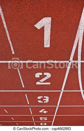 Sport grounds concept - Athletics Track Lane Numbers  - csp4662883