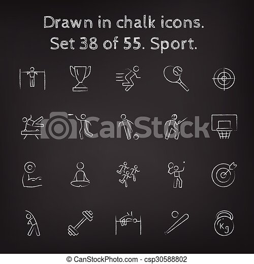Sport icon set drawn in chalk. - csp30588802