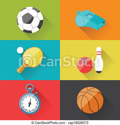 Sport icons in flat design style. - csp18026073