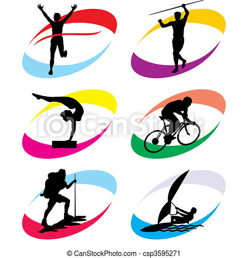 sport icons set of vector silhouette icons of the sport and rh canstockphoto co uk sports clipart free sports clip art downloads