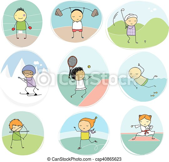 sport kids doodle collection - csp40865623