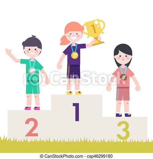 Sport Kids On Pedestal With Trophy Cup Vector Illustration Children Victory Podium Medal