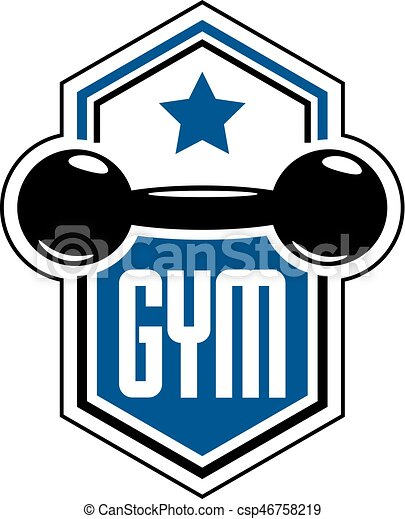 sport logo for weightlifting gym and fitness club retro vector rh canstockphoto com weight lifting logos designs weight lifting logos designs