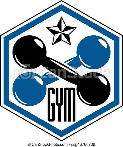 sport logo for weightlifting gym and fitness club retro vector rh canstockphoto com weight lifting logos designs weight lifting logos