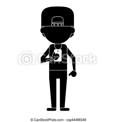 sport man character using smartphone pictogram - csp44488348