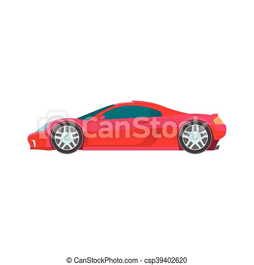 Sport Muscle Car Red Flat Icon Vector Sport Super Car Icon Vector