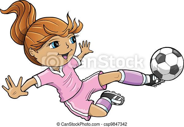 sport, nyár, leány, vektor, futball - csp9847342